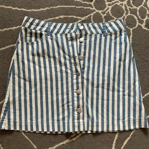 Striped Button Front Mini Skirt